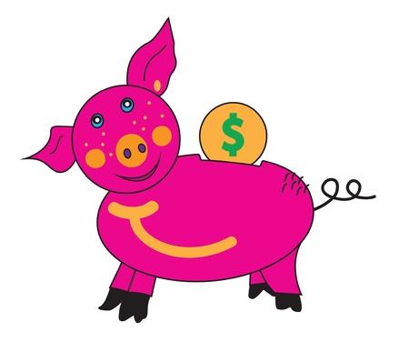 Porco rosa mealheiro com um sorriso