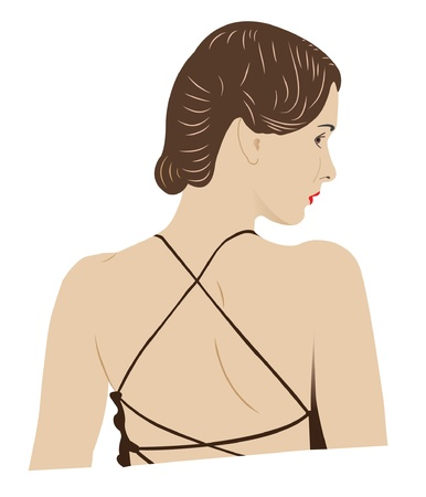 The girl from the back, with brown hair  Stock Vector - 15364852