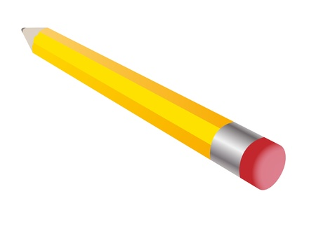 The pencil a huge yellow with a red erasers. Illustration