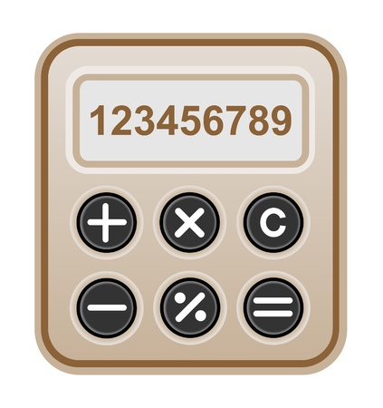 Brown calculator rectangular shape realistic