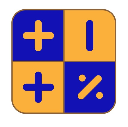 The blue-and-yellow calculator on a white background to draw
