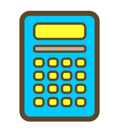 Calculator blue with yellow button, cartoon