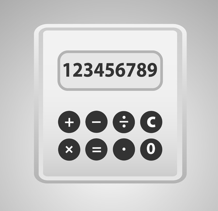 Calculator grey with yellow button, cartoon  Reduced  Realistic