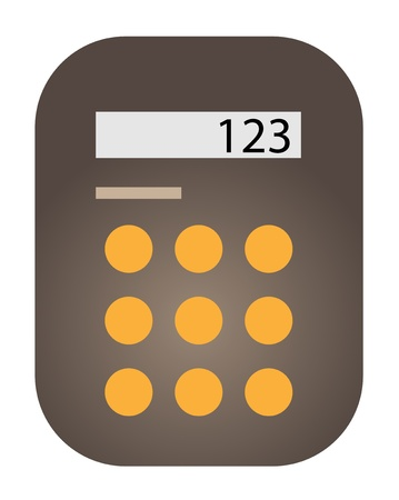 Brown calculator rectangular shape drawn  Illustration
