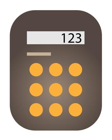 Brown calculator rectangular shape drawn  Illustration