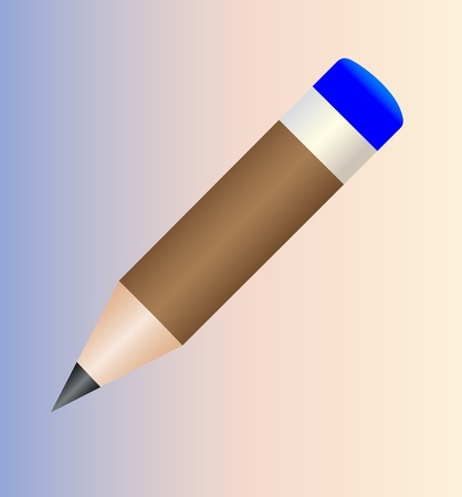 Brown round a pencil  Realistic with blue erasers