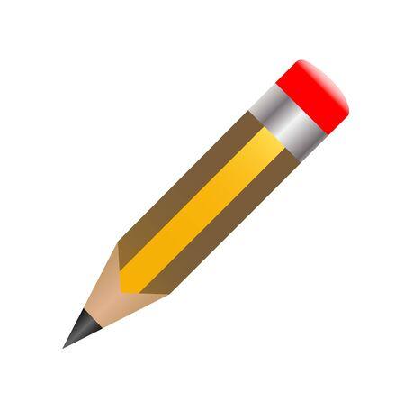 Lápis amarelo com rostos realistas com borrachas vermelhas Ilustração