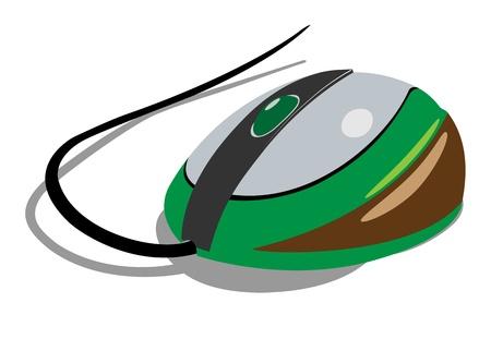 Verde do rato do computador pintado. Wireless realista. Ilustração