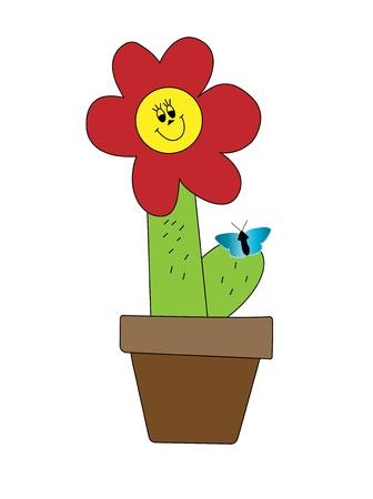 prickles: Il cactus con un sorriso e una farfalla sulla spine. Vettoriali
