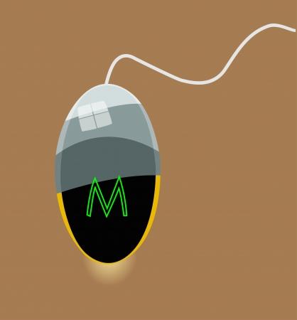 O rato do computador com reflexão de uma janela e manchas de luz. Realista. Ilustração