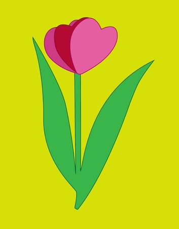 Pink flower in the form of three hearts in love. Illustration