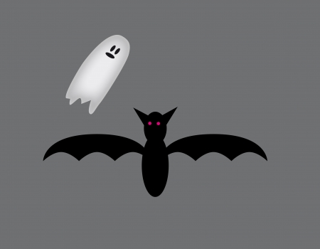 Bat and ghost. Dark night of a ghost and bats inspire fear.