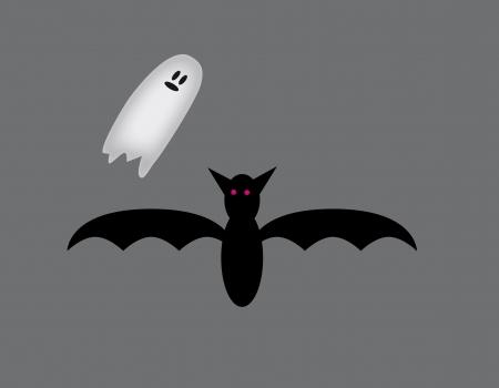 Bat e fantasma. Noite escura de um fantasma e morcegos inspirar medo. Ilustração