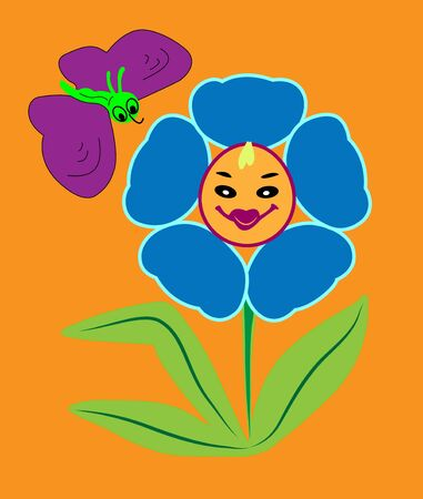 Smiling flower with a butterfly on an orange background
