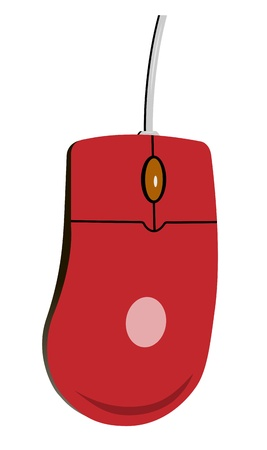 Rato do computador vermelho pintado. Wireless realista.