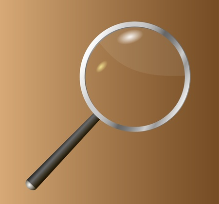 Realistic magnifying glass with solar patches of light against a dark background.