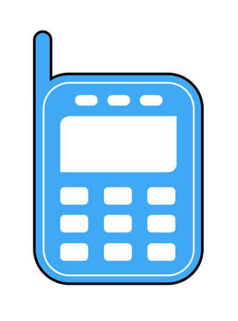 The mobile phone blue with the antenna on a white background.