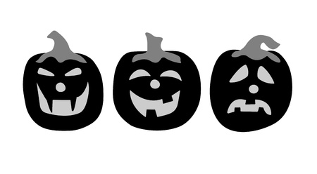 Three pumpkins silhouettes  It is black white drawing on a white background
