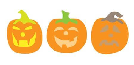 Three pumpkins concept  Orange pumpkins on a white background