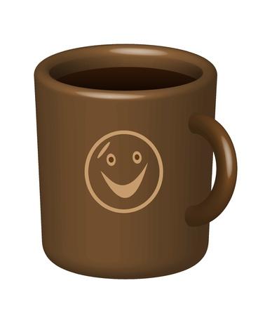 Chávena de café de cor marrom com desenho. Em um fundo branco.