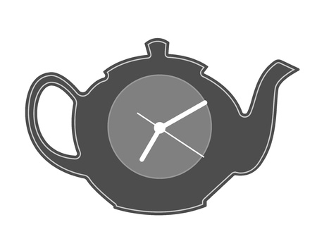 Teapot silhouette. It is time to drink tea. Vector