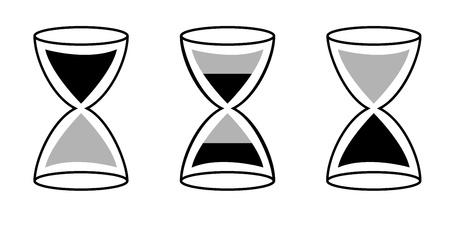 A ampulheta de cor negra, mostrando o fluxo do tempo.
