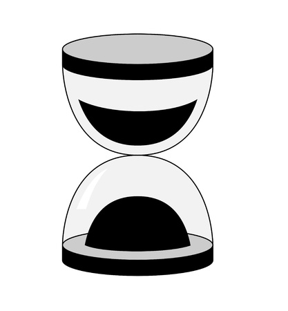 The silhouette of the hourglass concept. Black. White background.