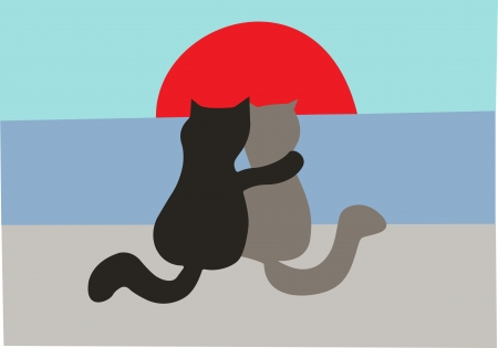 Cats in love sit on the seashore and enjoy a decline  Illustration