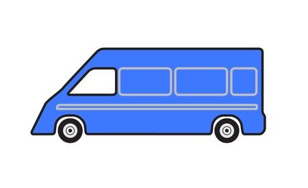Minibus carro azul em um fundo branco. Ilustração