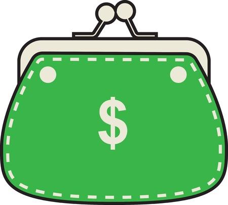 Bolsa verde simples em um fundo branco. Ilustração