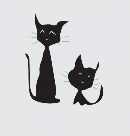 Cat with a kitten. Love and Idillia family. Illustration