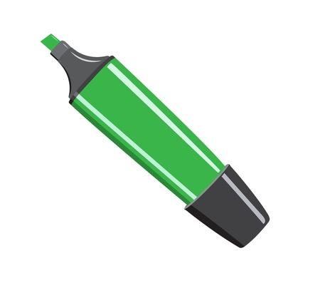 Caneta de feltro, desenhos animados verde no branco.