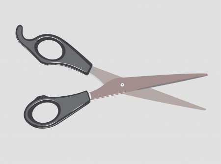 Scissors drawn volume on a white background.