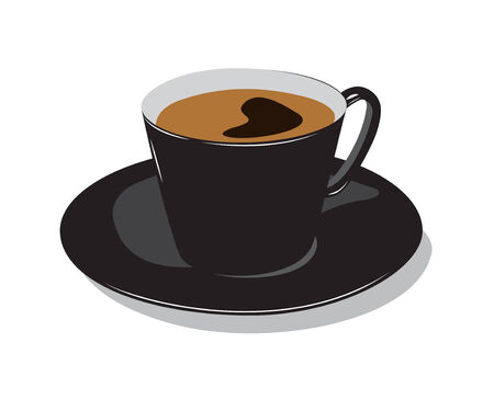 Chávena de café de cor preta com desenho. Em um fundo branco.