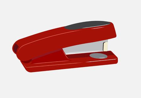 Grampeador realista vermelho em um fundo cinza.
