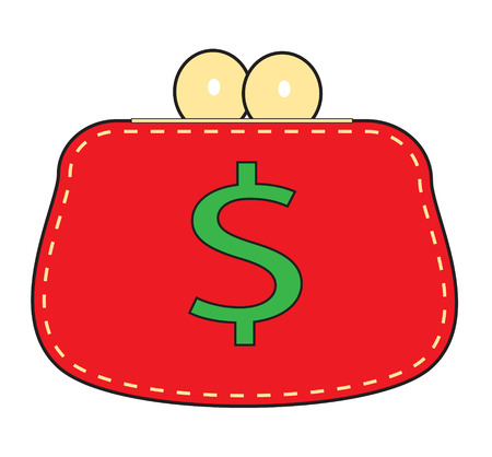 Simple red purse on a white background. Vector