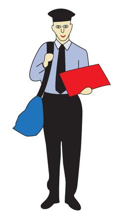 O carteiro alegre com um saco em seu ombro. Ilustração