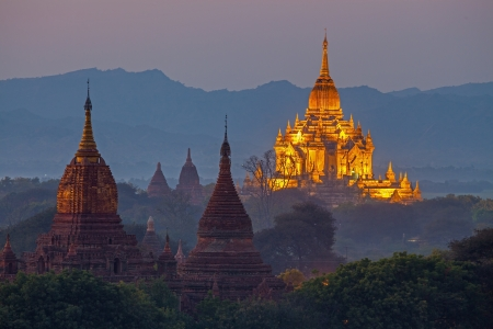 Temple in Bagan Area at Sunset  photo