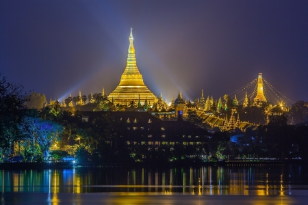 View at dawn of the Shwedagon Pagoda, Yangoon, Myanmar  Stock Photo