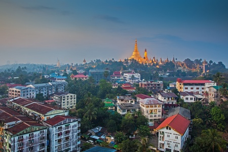 myanmar: View at dawn of the Shwedagon Pagoda, Yangoon, Myanmar  Stock Photo