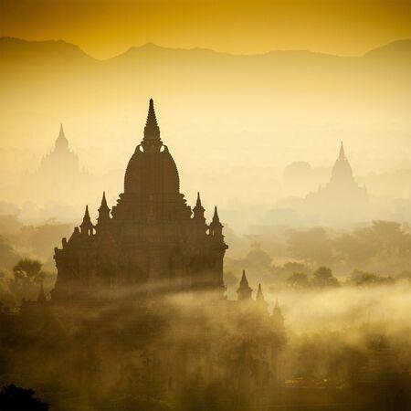 golden temple: Sunrise over temples of Bagan in Myanmar