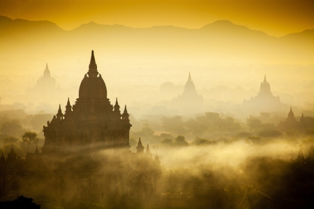Sunrise over temples of Bagan in Myanmar  photo
