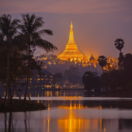 pagoda: Shwedagon Pagoda en el crep?lo Yangon, Birmania Myanmar