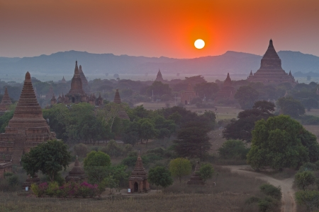 Sunset over temples of Bagan in Myanmar Stock Photo - 17840840