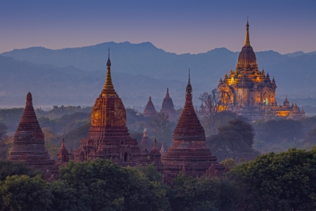 ancient temple in Bagan after sunset , Myanmar Imagens - 17840830