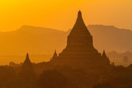 Sunset over temples of Bagan in Myanmar Stock Photo - 17840927