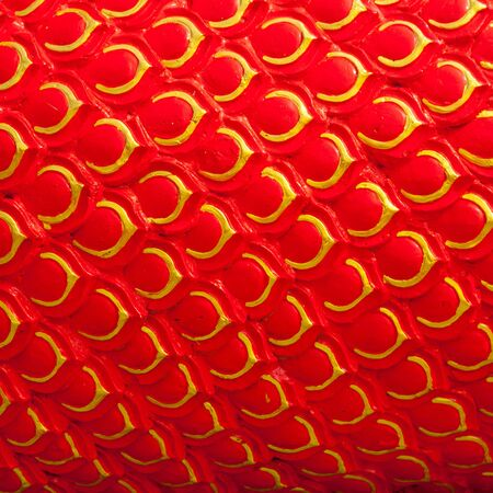 Close up texture part King of Nagas statue - Thai dragon  Stock Photo