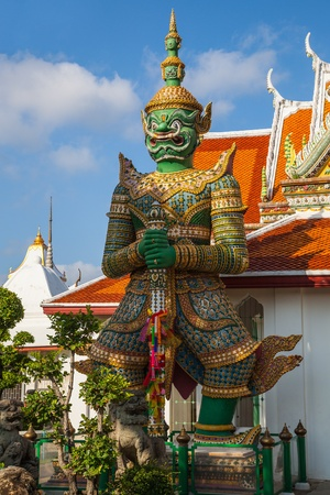 a cudgel: YAK or Giant architectural protector of WAT ARUN TEMPLE in Thailand