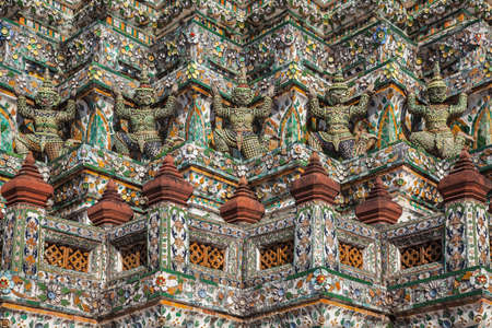 emerald city: Details of the famous asian colorful temple Wat Arun in Bangkok, Thailand