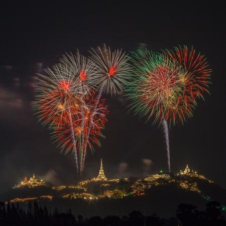 Firework on Khao Wang Mountain, Petchaburi Thailand  photo